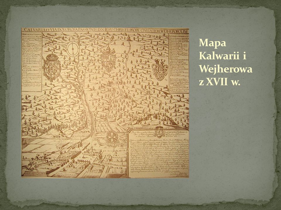 Mapa Kalwarii i Wejherowa z XVII w.