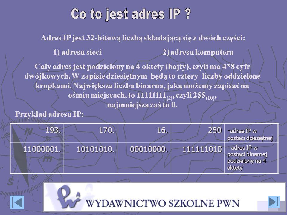 Co to jest adres IP Adres IP jest 32-bitową liczbą składającą się z dwóch części: