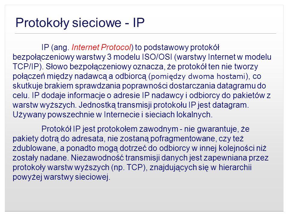 Protokoły sieciowe - IP