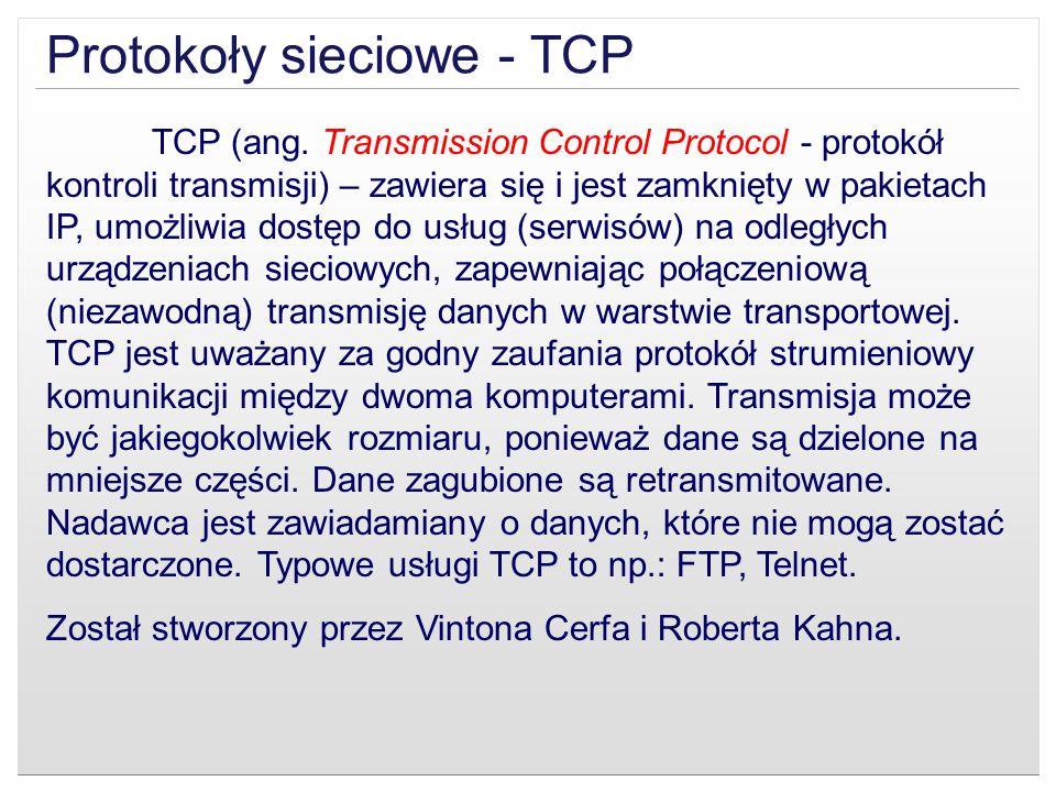 Protokoły sieciowe - TCP