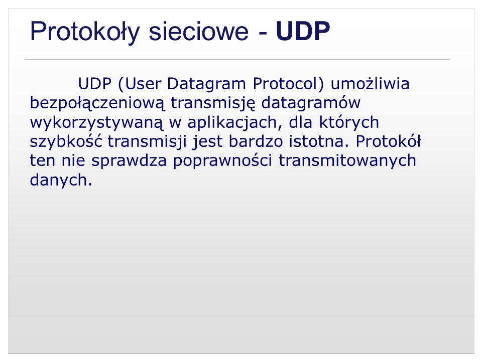 Protokoły sieciowe - UDP