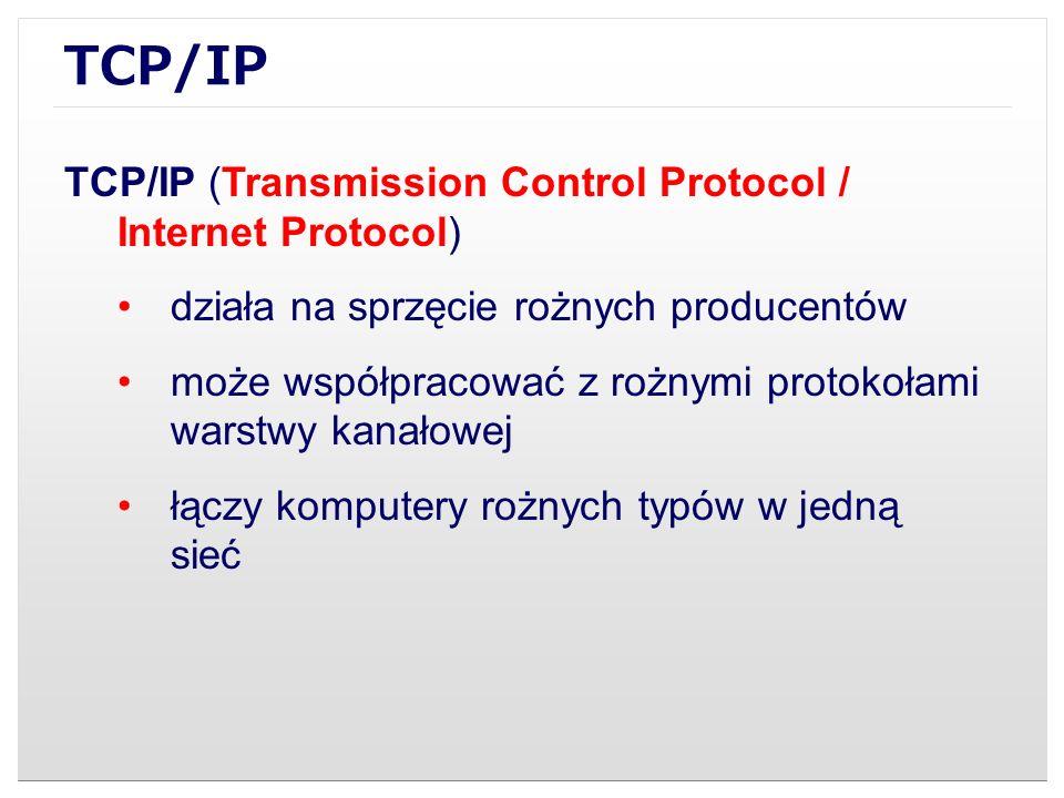 TCP/IP TCP/IP (Transmission Control Protocol / Internet Protocol)