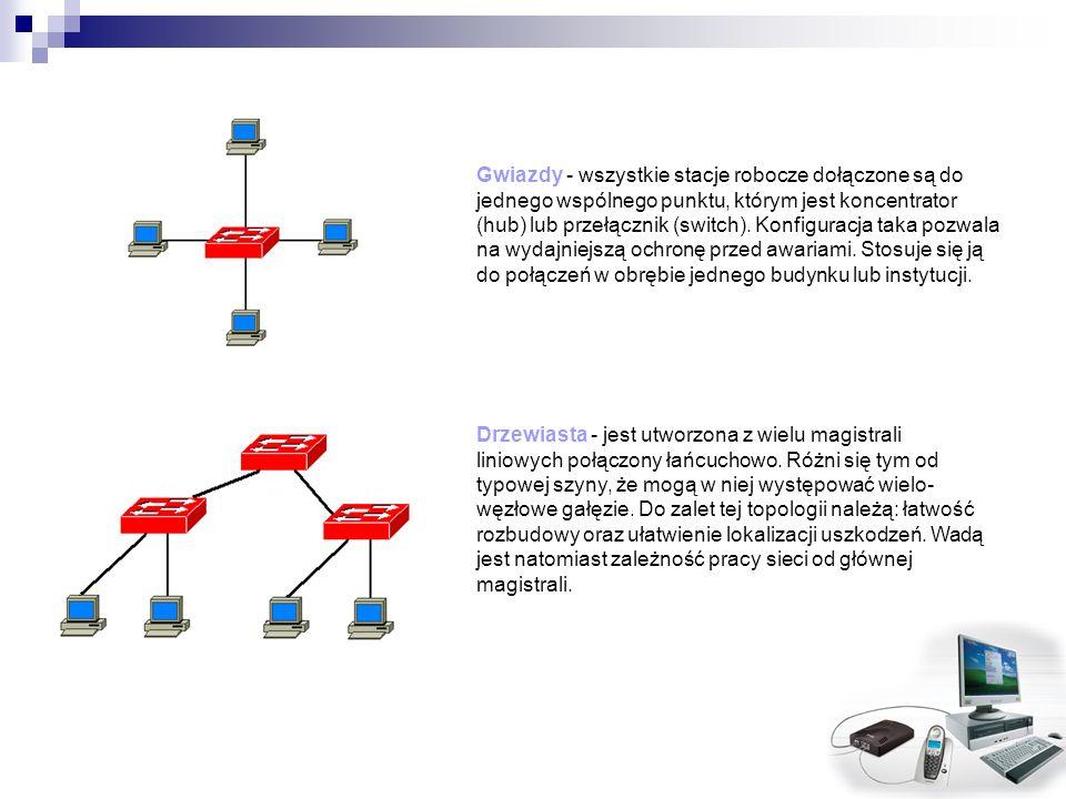 Gwiazdy - wszystkie stacje robocze dołączone są do jednego wspólnego punktu, którym jest koncentrator (hub) lub przełącznik (switch). Konfiguracja taka pozwala na wydajniejszą ochronę przed awariami. Stosuje się ją do połączeń w obrębie jednego budynku lub instytucji.