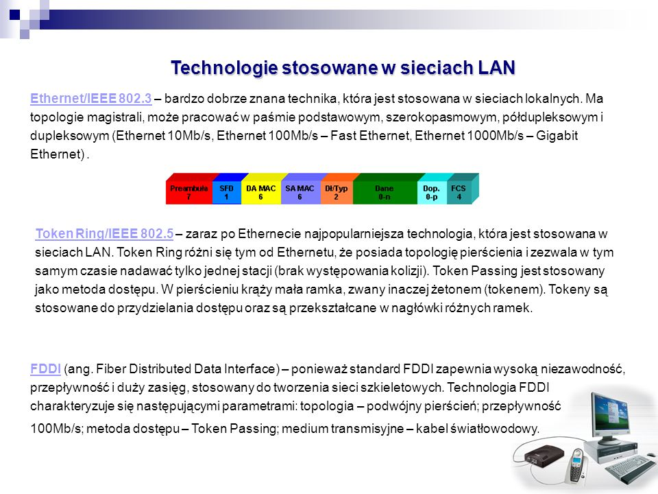 Technologie stosowane w sieciach LAN