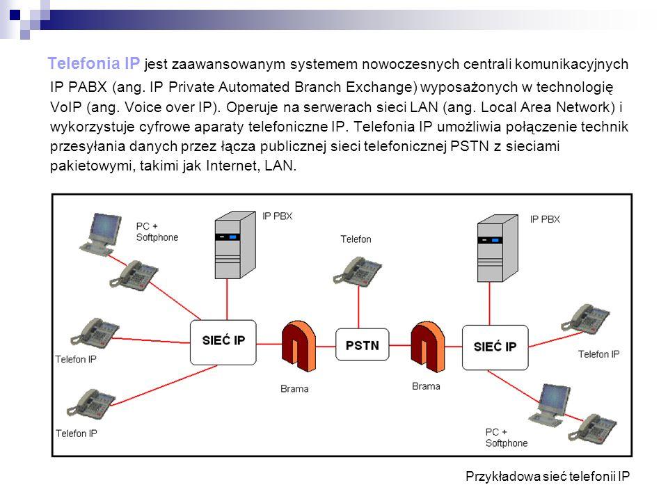 Telefonia IP jest zaawansowanym systemem nowoczesnych centrali komunikacyjnych IP PABX (ang. IP Private Automated Branch Exchange) wyposażonych w technologię VoIP (ang. Voice over IP). Operuje na serwerach sieci LAN (ang. Local Area Network) i wykorzystuje cyfrowe aparaty telefoniczne IP. Telefonia IP umożliwia połączenie technik przesyłania danych przez łącza publicznej sieci telefonicznej PSTN z sieciami pakietowymi, takimi jak Internet, LAN.