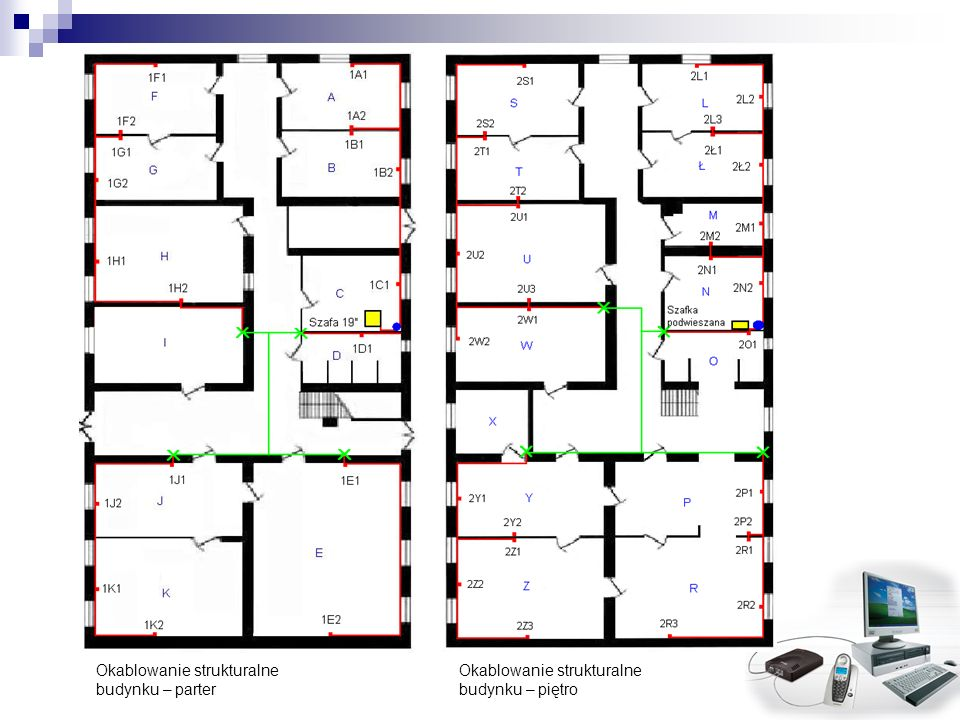 Okablowanie strukturalne budynku – parter