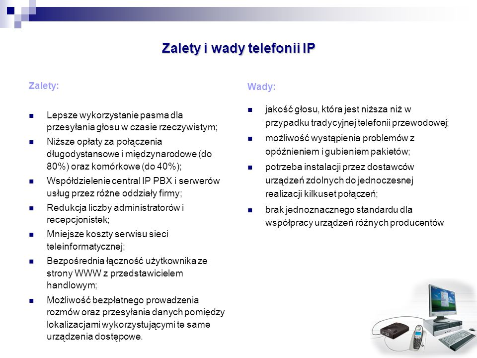 Zalety i wady telefonii IP
