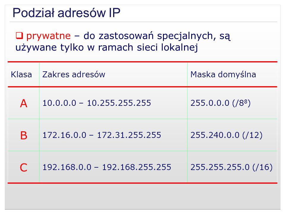 Podział adresów IP Podział adresów IP A B C