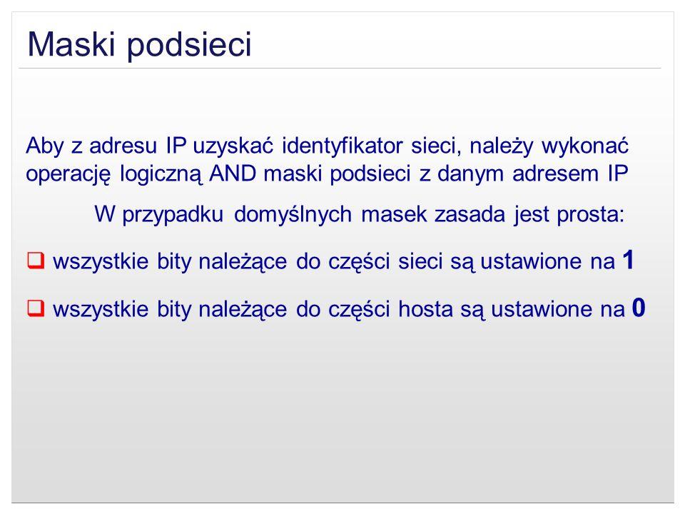 Maski podsieci Aby z adresu IP uzyskać identyfikator sieci, należy wykonać operację logiczną AND maski podsieci z danym adresem IP.