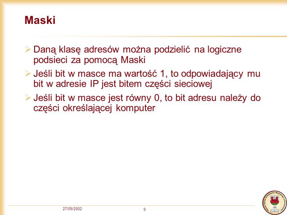 Maski Daną klasę adresów można podzielić na logiczne podsieci za pomocą Maski.