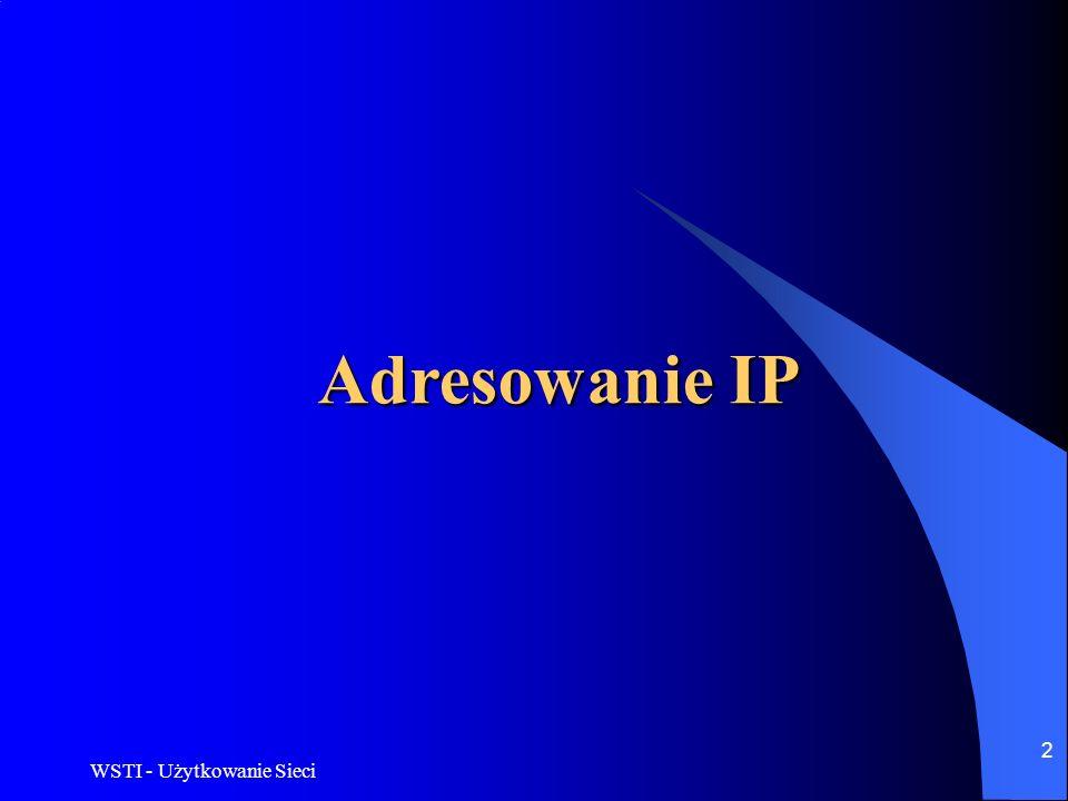 Adresowanie IP WSTI - Użytkowanie Sieci