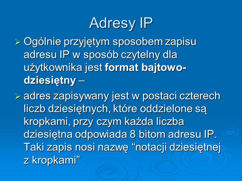Adresy IP Ogólnie przyjętym sposobem zapisu adresu IP w sposób czytelny dla użytkownika jest format bajtowo-dziesiętny –