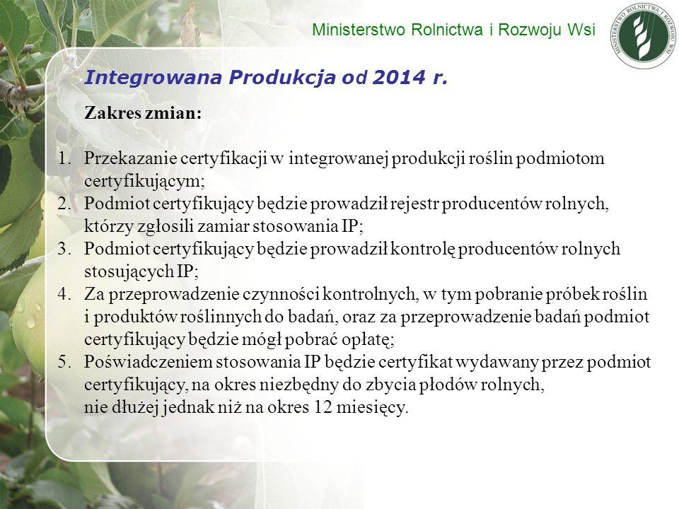 Integrowana Produkcja od 2014 r. Zakres zmian: