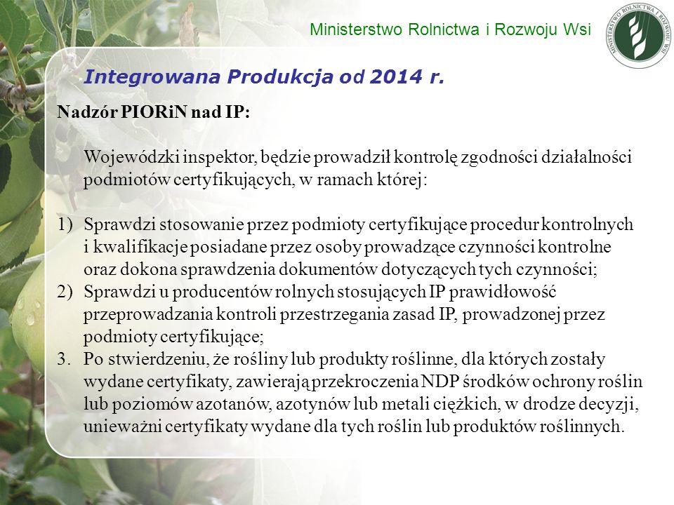 Integrowana Produkcja od 2014 r. Nadzór PIORiN nad IP: