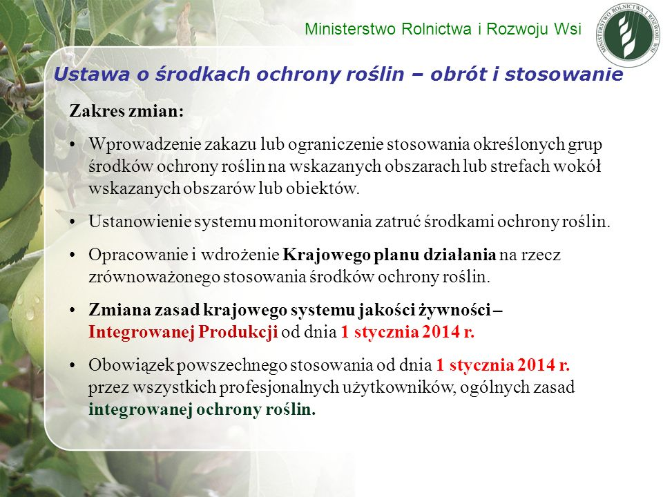 Ustawa o środkach ochrony roślin – obrót i stosowanie
