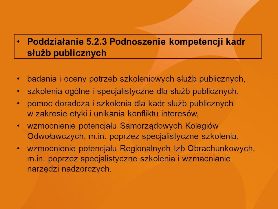 Poddziałanie 5.2.3 Podnoszenie kompetencji kadr służb publicznych