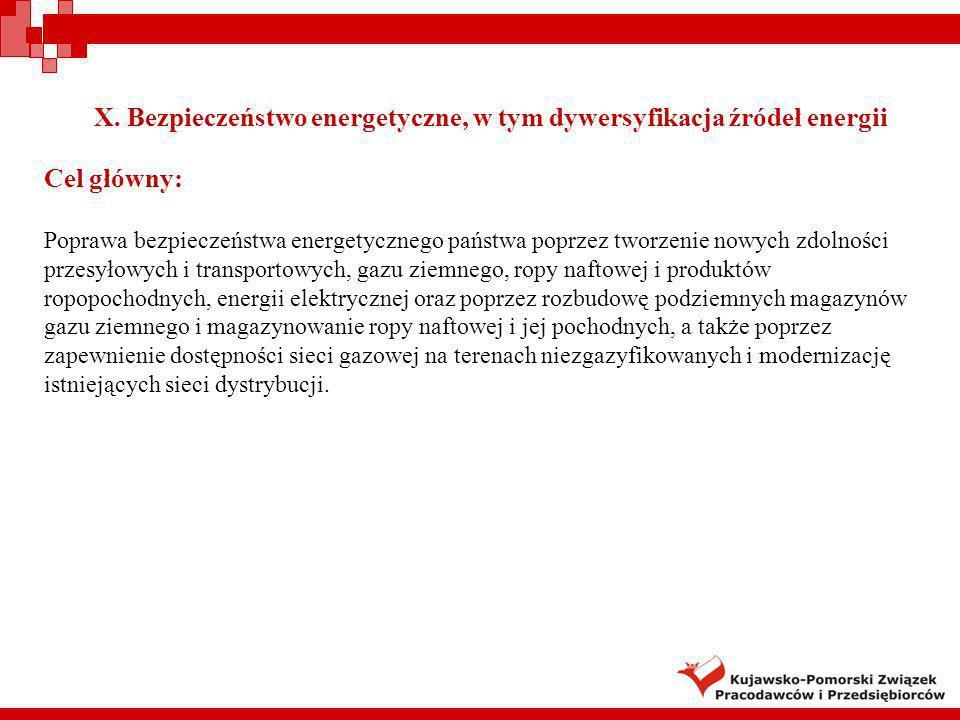 X. Bezpieczeństwo energetyczne, w tym dywersyfikacja źródeł energii