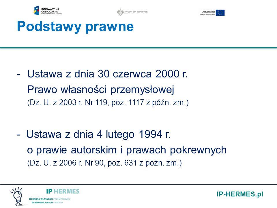 Podstawy prawne Ustawa z dnia 30 czerwca 2000 r. Prawo własności przemysłowej (Dz. U. z 2003 r. Nr 119, poz. 1117 z późn. zm.)