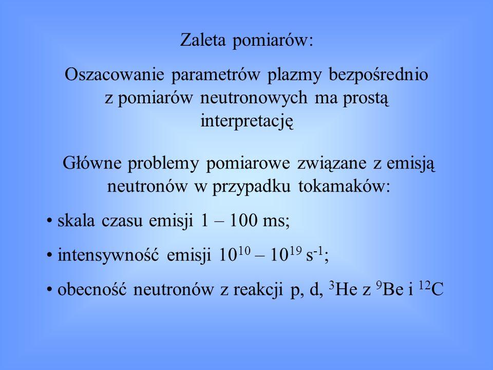 Zaleta pomiarów:Oszacowanie parametrów plazmy bezpośrednio z pomiarów neutronowych ma prostą interpretację.