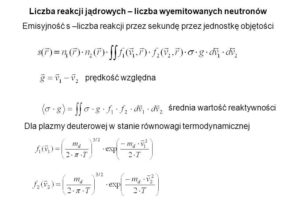 Liczba reakcji jądrowych – liczba wyemitowanych neutronów Emisyjność s –liczba reakcji przez sekundę przez jednostkę objętości