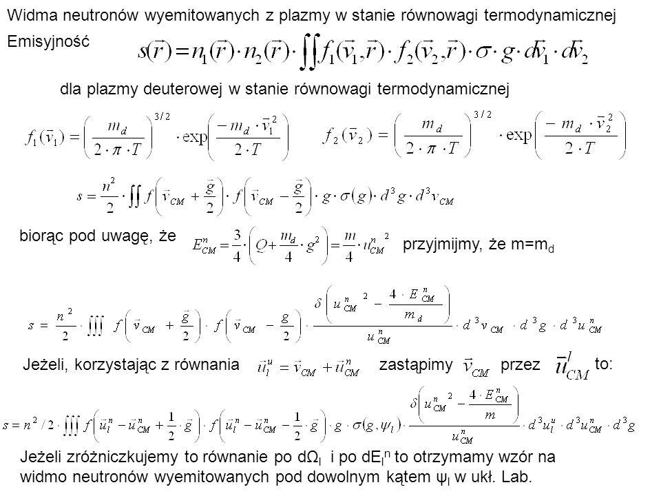 Widma neutronów wyemitowanych z plazmy w stanie równowagi termodynamicznej