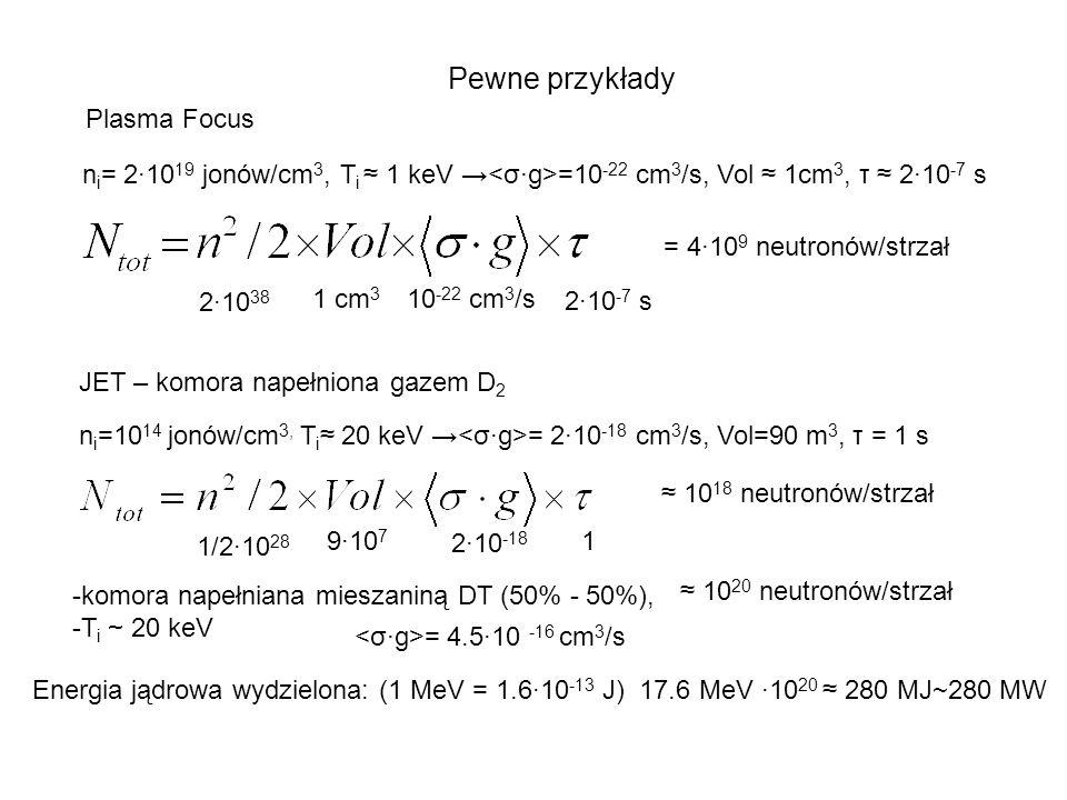 Pewne przykłady Plasma Focus