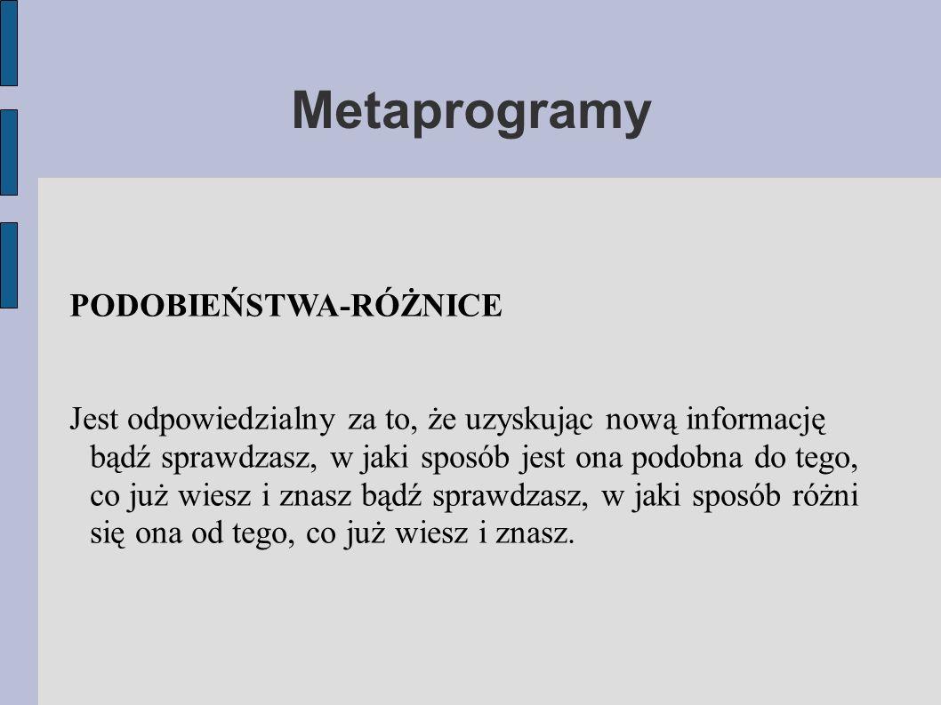 Metaprogramy PODOBIEŃSTWA-RÓŻNICE