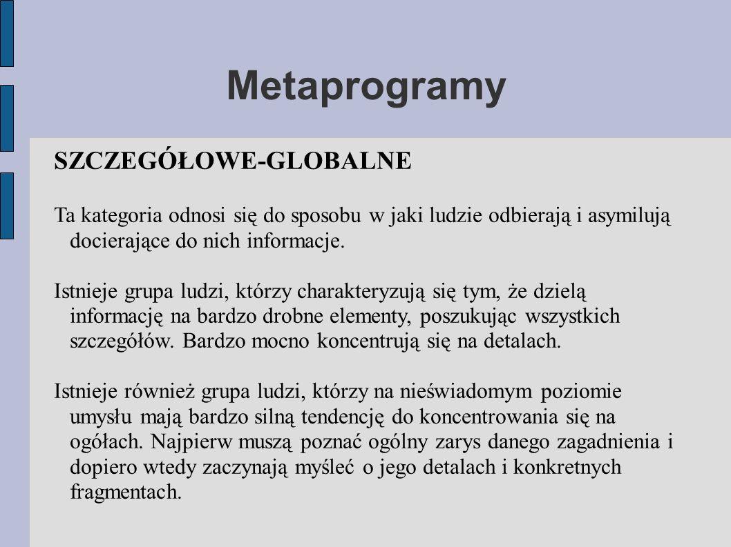 Metaprogramy SZCZEGÓŁOWE-GLOBALNE