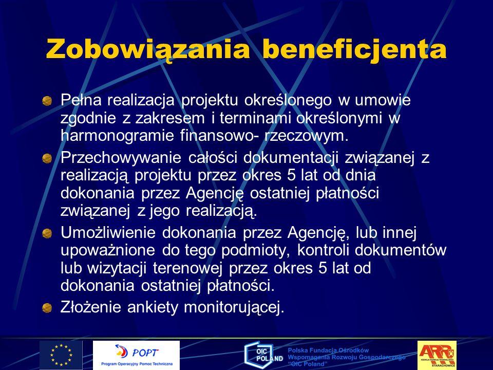 Zobowiązania beneficjenta