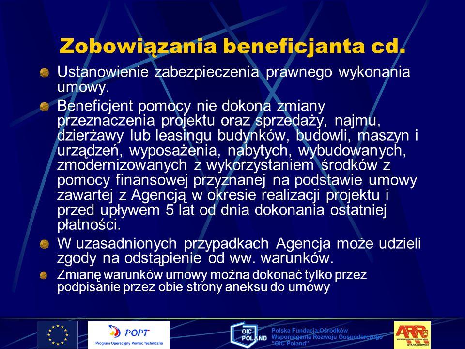 Zobowiązania beneficjanta cd.