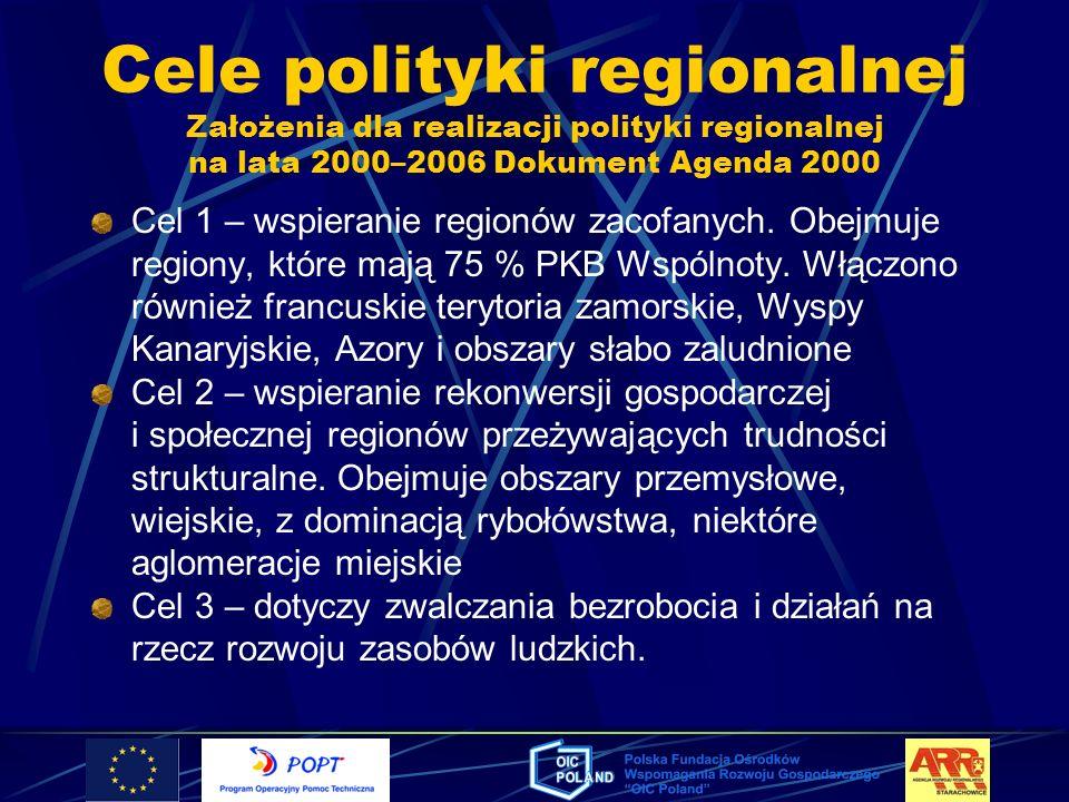 Cele polityki regionalnej Założenia dla realizacji polityki regionalnej na lata 2000–2006 Dokument Agenda 2000