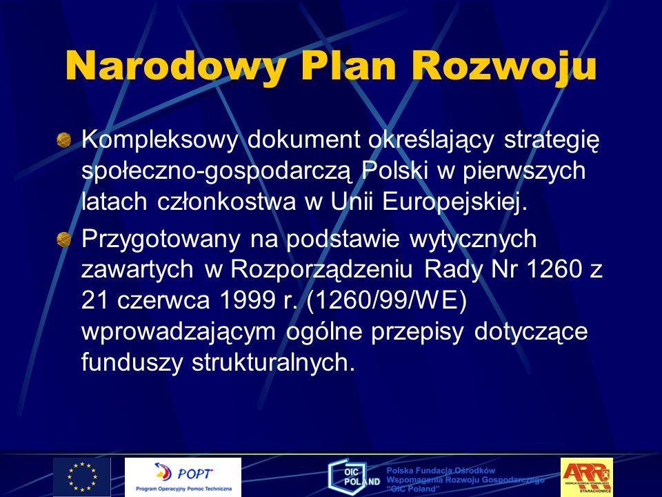 Narodowy Plan RozwojuKompleksowy dokument określający strategię społeczno-gospodarczą Polski w pierwszych latach członkostwa w Unii Europejskiej.