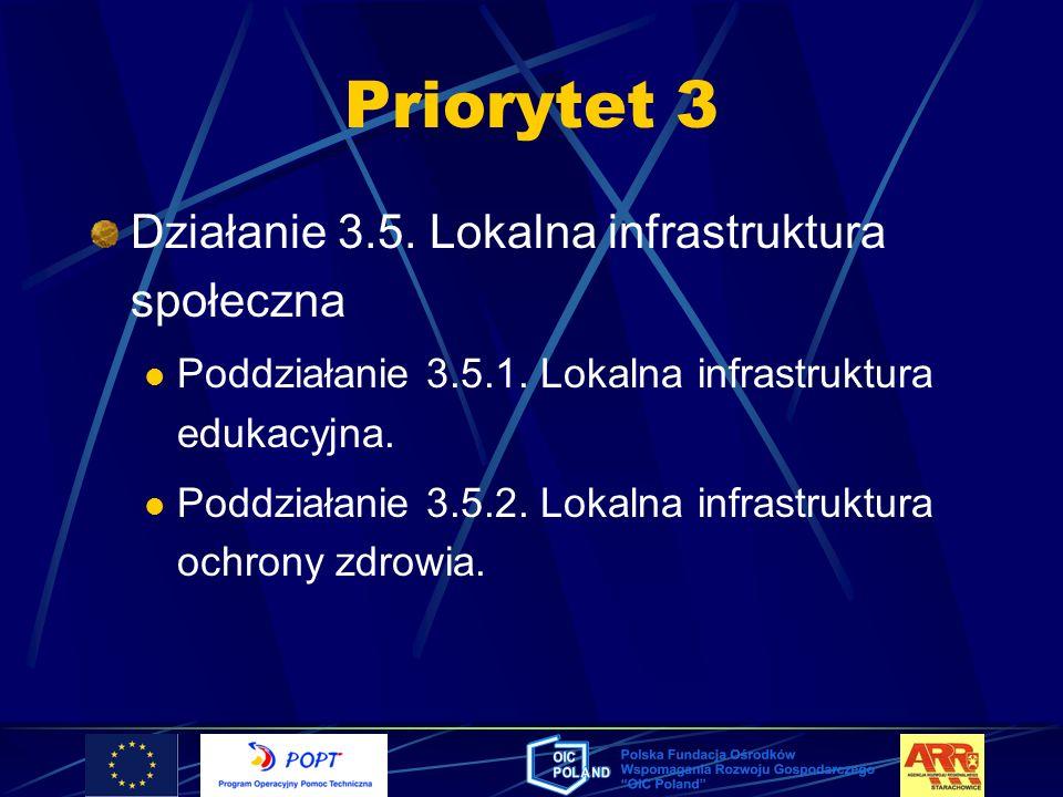 Priorytet 3 Działanie 3.5. Lokalna infrastruktura społeczna