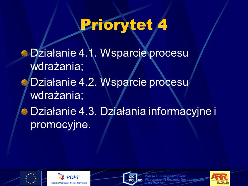 Priorytet 4 Działanie 4.1. Wsparcie procesu wdrażania;