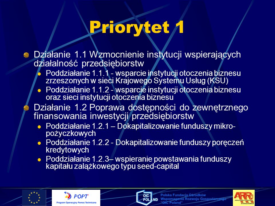 Priorytet 1 Działanie 1.1 Wzmocnienie instytucji wspierających działalność przedsiębiorstw.