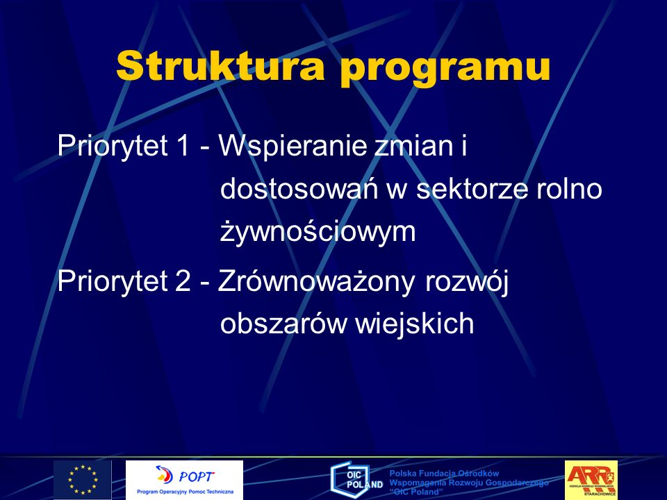 Struktura programuPriorytet 1 - Wspieranie zmian i dostosowań w sektorze rolno żywnościowym.