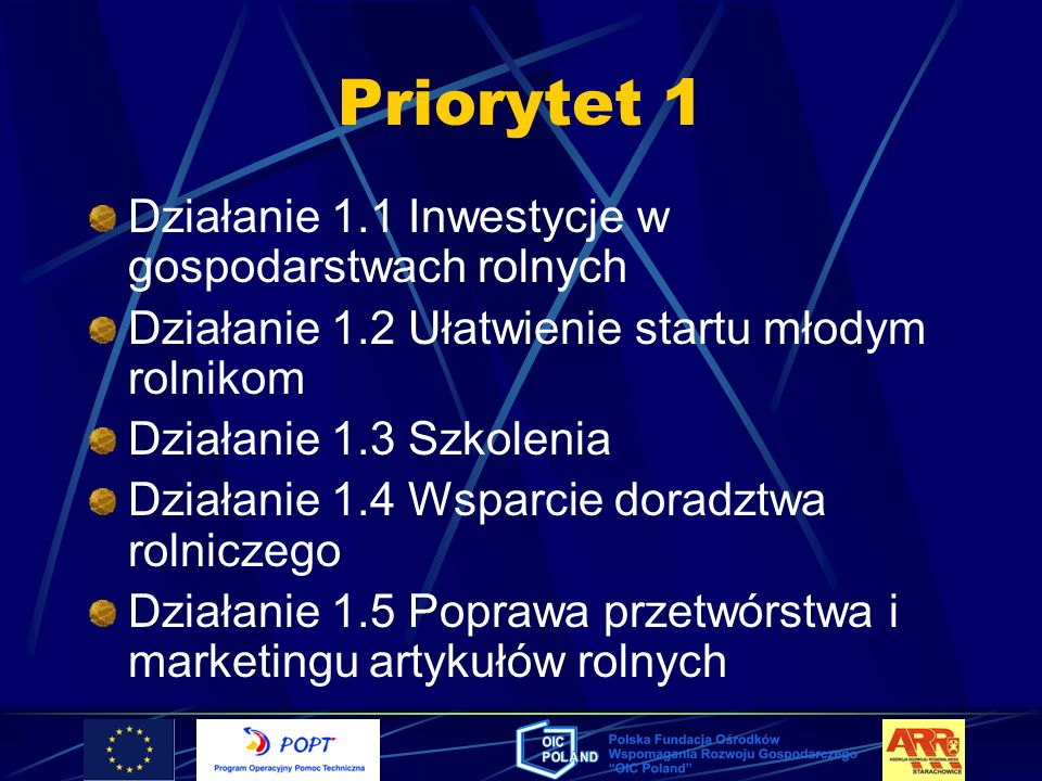 Priorytet 1 Działanie 1.1 Inwestycje w gospodarstwach rolnych