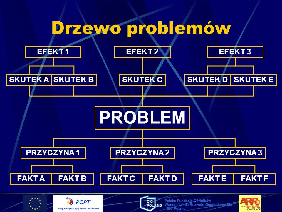 Drzewo problemów PROBLEM EFEKT 1 EFEKT 2 EFEKT 3 SKUTEK A SKUTEK B