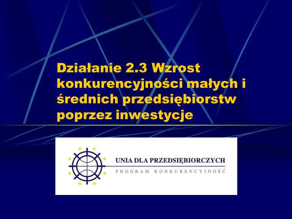 Działanie 2.3 Wzrost konkurencyjności małych i średnich przedsiębiorstw poprzez inwestycje