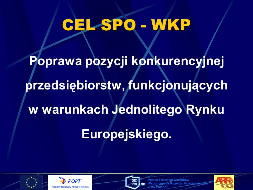 CEL SPO - WKPPoprawa pozycji konkurencyjnej przedsiębiorstw, funkcjonujących w warunkach Jednolitego Rynku Europejskiego.