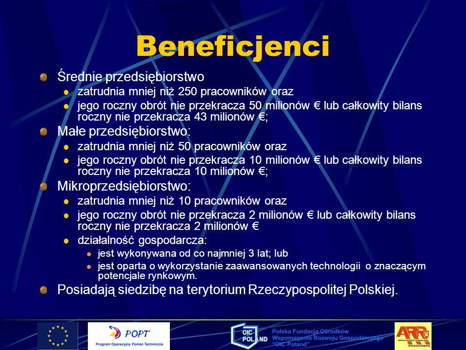 Beneficjenci Średnie przedsiębiorstwo Małe przedsiębiorstwo: