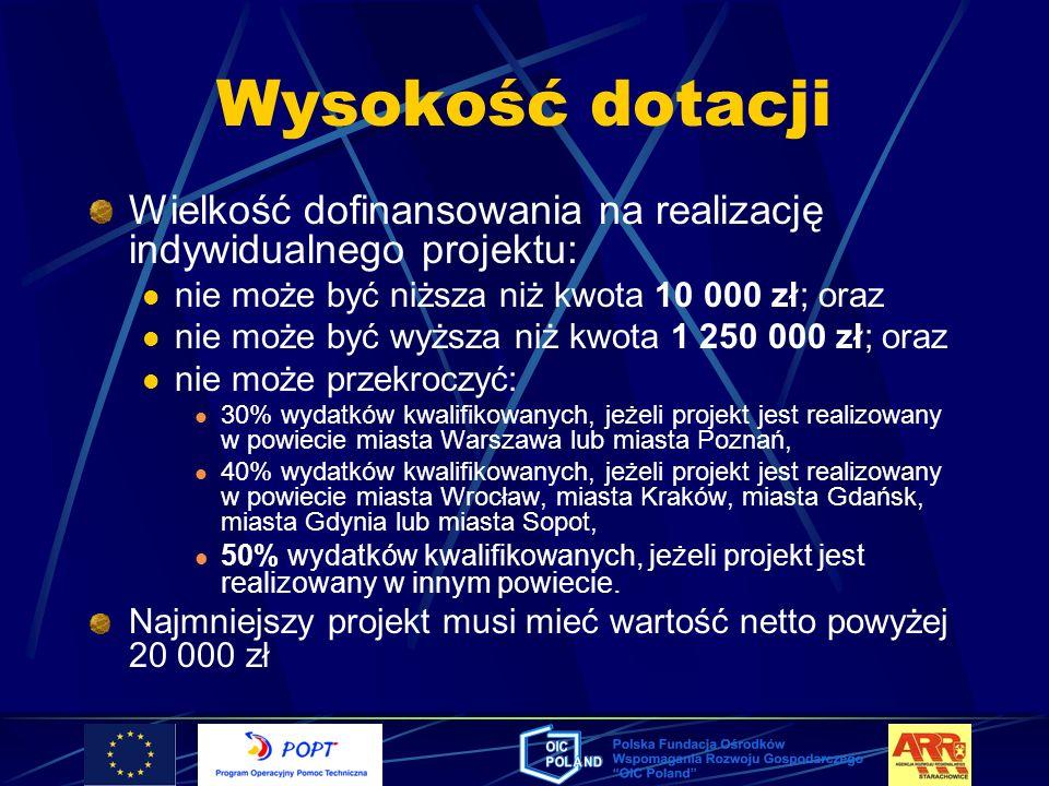 Wysokość dotacjiWielkość dofinansowania na realizację indywidualnego projektu: nie może być niższa niż kwota 10 000 zł; oraz.