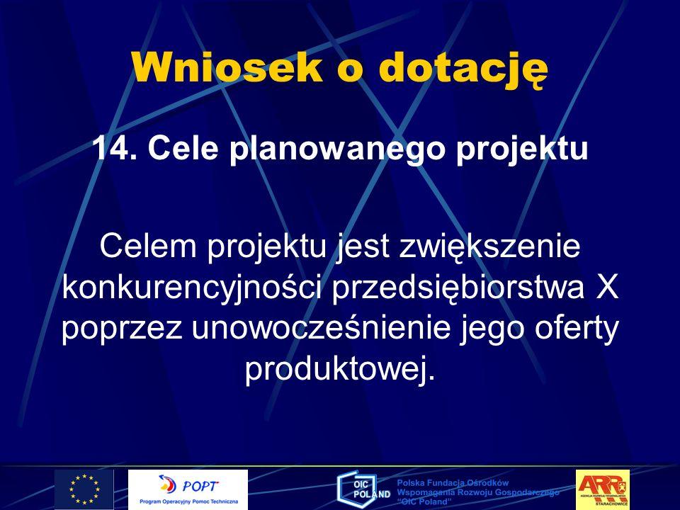 14. Cele planowanego projektu