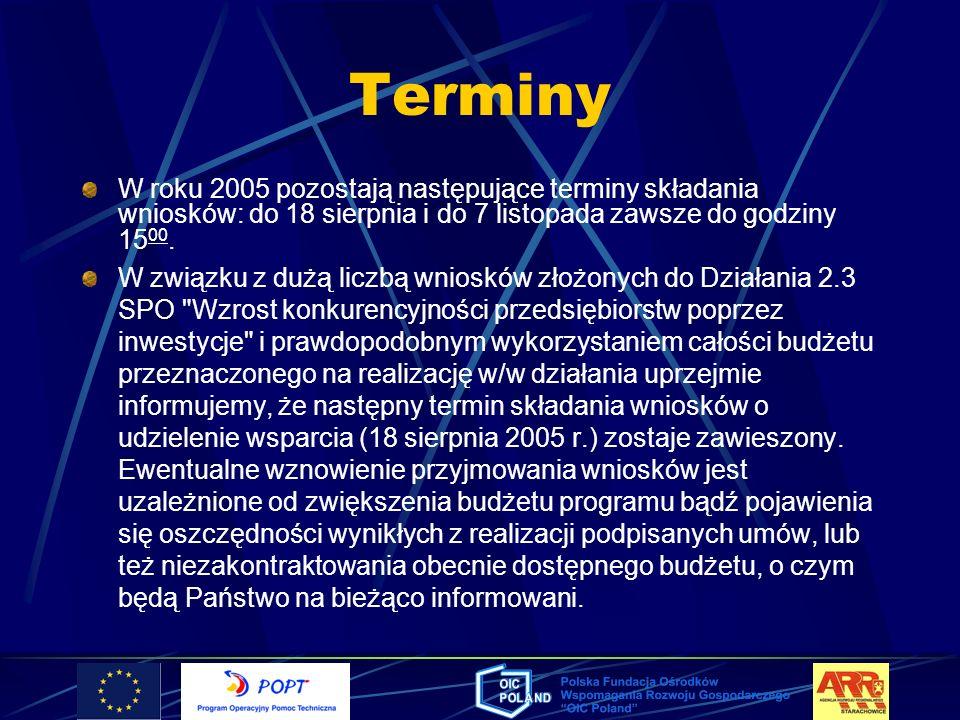 TerminyW roku 2005 pozostają następujące terminy składania wniosków: do 18 sierpnia i do 7 listopada zawsze do godziny 1500.