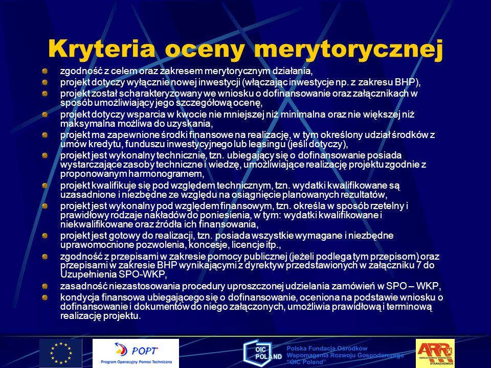 Kryteria oceny merytorycznej