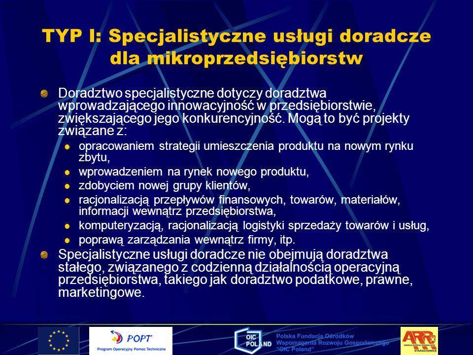TYP I: Specjalistyczne usługi doradcze dla mikroprzedsiębiorstw