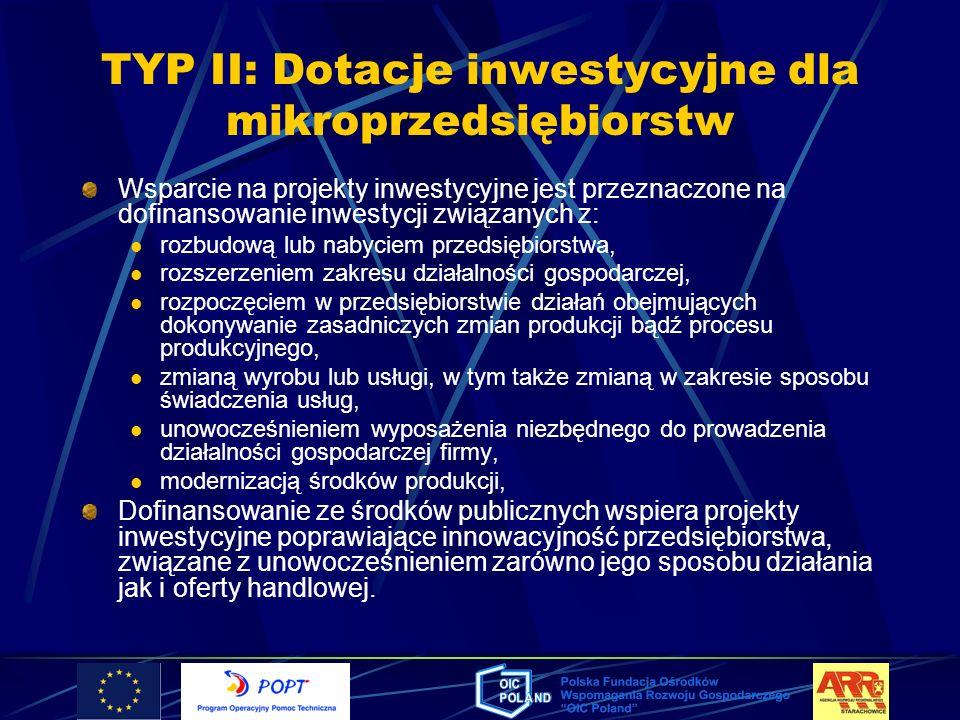 TYP II: Dotacje inwestycyjne dla mikroprzedsiębiorstw