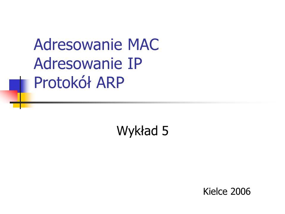 Adresowanie MAC Adresowanie IP Protokół ARP