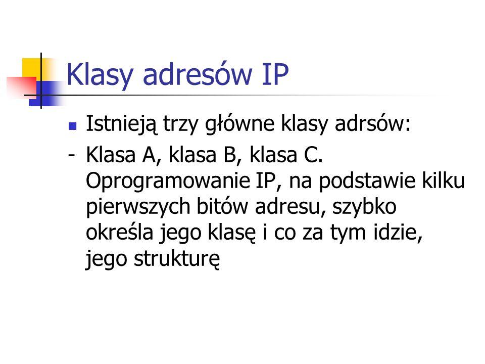 Klasy adresów IP Istnieją trzy główne klasy adrsów:
