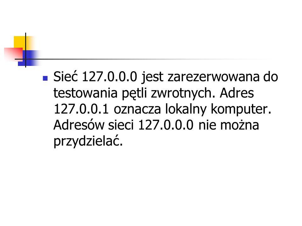 Sieć 127.0.0.0 jest zarezerwowana do testowania pętli zwrotnych.